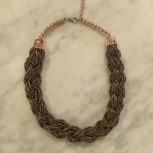 Gold Beaded Woven Necklace